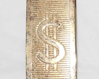 1970s Money clip goldtone magnetic metal with Dollar Sign Grungy with tons of wear Free USA Shipping
