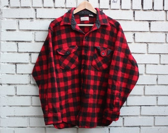 Vintage L.L. BEAN Flannel Shirt Red Black Plaid Button Up 100% cotton hunting outdoors hiking outerwear vtg ll bean flannel Shirt