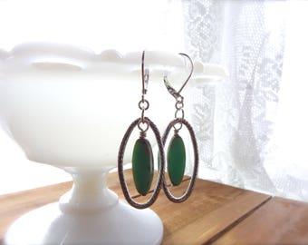 Western Earrings, Cowgirl Earrings, Czech glass and Silver Earrings *HAZELL*