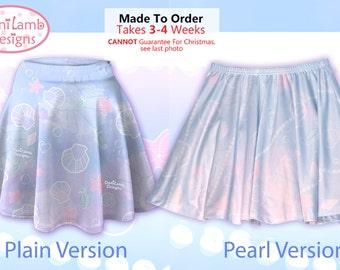 Kawaii Marine Ocean Mermaid Skirt Printed Skater Skirt Splash Dream Undersea Seashell Pastel Fairy Kei Size XS Through 3XL *Made 2 Order*
