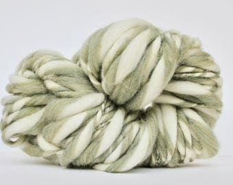 Thick and Thin Melange  Hand Spun  Super Bulky  Wool  TTY Sage Heather / White  Color