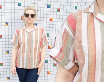 LINEN 1990s Vintage Striped Short Sleeve Women's Button Down Shirt Blouse Top