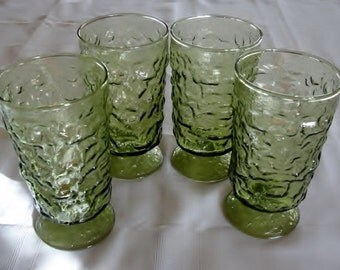 Set of 4 Four Lido Milano Water Glasses Stemware by Anchor Hocking Avocado Green