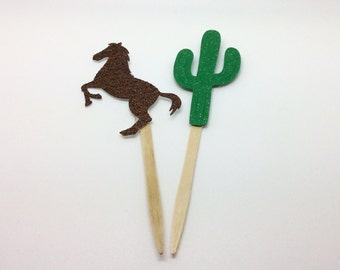 Cactus and horse party decorations, cactus cupcake toppers, horse cupcake toppers, cactus cake topper, horse cake topper, cowboy party,