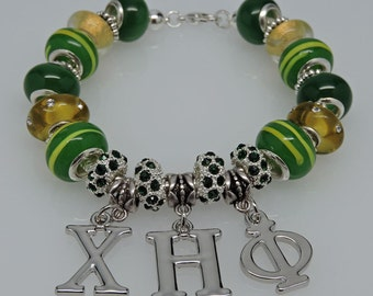 New Dangling CHI ETA PHI European Style Sorority Bracelet Green Yellow