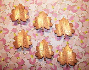 6 Vintage Coppercoated Maple Leaf Brooches