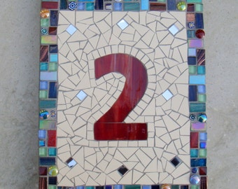 Mosaic House Number, Street Address,House Sign, Number Plaque,Yard Sign, Outdoor Sign, Kerb Appeal, Bespoke, Custom,Numberplate,Door, mirror