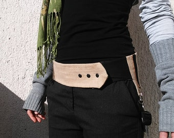 FREE SHIPPING Unique rough linen belt with big pocket