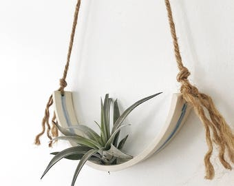 Extra Large Airplant Half Moon Cradle Sling Hanging Planter Display for Air Plant MADE TO ORDER