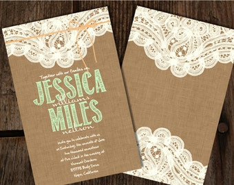 Custom Burlap And Lace Mint And Peach Wedding Invitations, Burlap Wedding  Invitations, Lace Wedding