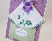 Vintage Lavender Wedding Handkerchief Mother Of The Bride Mother Of The Groom Thank You Keepsake Gift Hanky Accessory Card