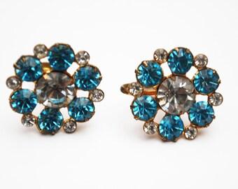 Rhinestone  Coro Earrings - Blue Flower - mid century - screw back Earring - Gold plated metal