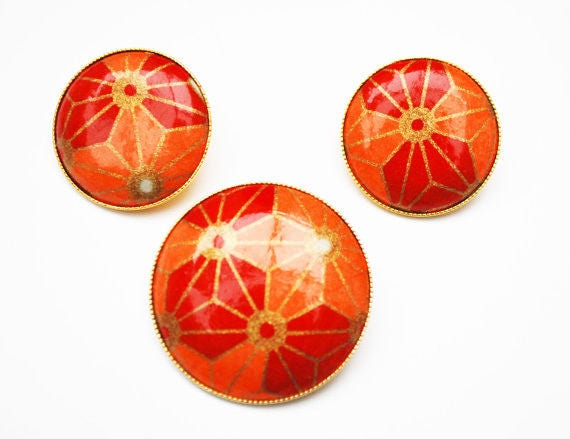 Orange Brooch pendant Earring Set - Red gold - Mod modern - pierced earrings - Geometric Flower Floral - Round - Vintage jewelry
