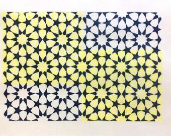 linocut - tessellation - 9x12 / printmaking / block print / blue, yellow / geometric design / tessellation