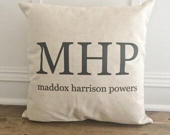 Custom Monogram & Name Pillow Cover