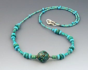 Genuine Turquoise Necklace with Mosaic Bead and 925 Sterling Silver, Handmade, Mixed Green and Blue Turquoise, Quality Gemstone Necklace