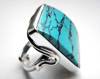 SALE 20% OFF!!! Use the coupon code: SALE20 Turquoise sterling silver ring - adjustable