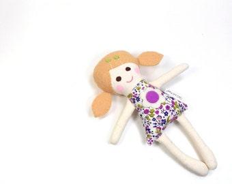 "Miniature Camille Rag Doll -- Handful Doll -- Pocket Doll -- Dollhouse Doll -- 7"" Mini Rag Doll in Blue and Pink"