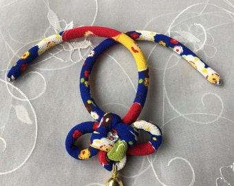 Fabric cord cat collar with a bell /japanese chirimen cord knot / blue and red