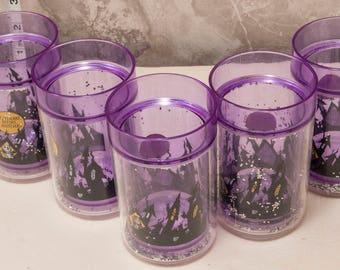 1990s Nightmare Before Xmas 6oz plastic cups. Purple w/ glitter, and graphics. Tim Burton,