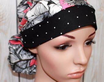 Pink Flower Shop With Polka Dot Band,Surgical Scrub Hat ,Scrub Cap,OR Nurses Cap,Vet,Vet Tech,Front Fold  Ponytail