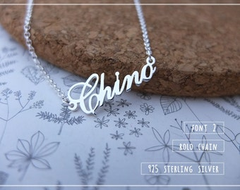 20% off //Font 2 // Personalized Name Necklace- Custom name - Gift box included. Sterling silverข Christmas- Valentine gift.