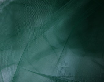 "Hunter Green Polyester Tulle Fabric 56"" Wide Per Yard"
