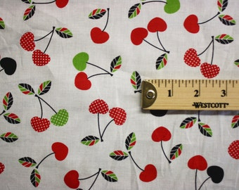 "Cherry Print Vintage Cotton Fabric 41"" Wide Per Yard"