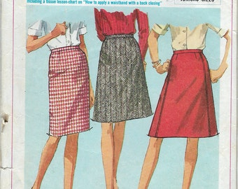 Vintage 1966 Simplicity 6647 Teens & Juniors Set of Skirts Sewing Pattern Size 12T Waist 25""