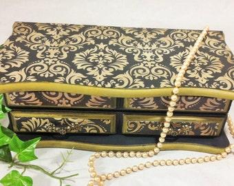 Black Damask Jewelry Box, Men's Jewelry Organizer, Gold Jewelry Chest, Painted Keepsake Storage, Black Gold Desk Accessory, Wood Jewelry Box