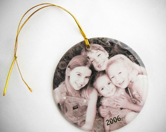 Crystal Glass Round Photo Ornament