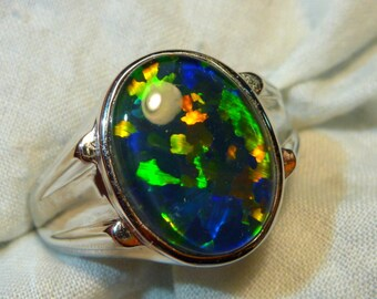 Mens Opal Ring Sterling Silver, Natural Opal Triplet. 16x12mm Oval. item 110249.