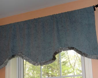 "Teal Blue Scalloped Curtain Valance 50"" x 21"" (2 available)"