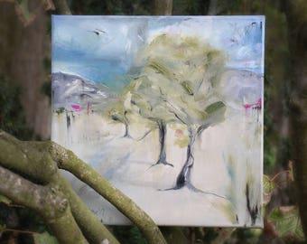 Tree painting, original landscape art, living room art, new zealand landscape, semi abstract, farm painting, impressionistic, old trees