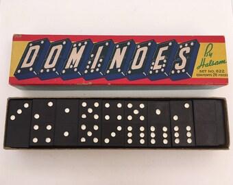 Vintage Hal-Sam 622 Double Six Wood Dominoes Board Game