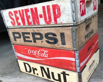 4 Vintage Dr Nut Pepsi Coke 7up Wood Soda Crates Lot - Great Shape!