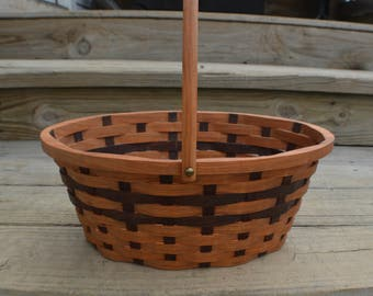 Easter basket Oval Cherry wood with handle