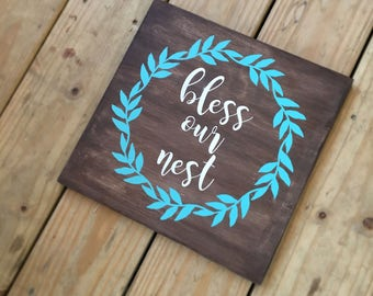 Bless our Nest Handpainted Wood Sign Made to Order