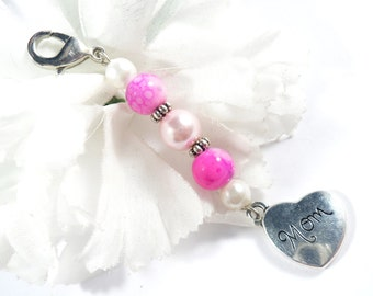 Pink Keychain Charms, Purse Charm, Zipper Pull Keychain Accessory, Zipper Pull Charm, Purse Accessories, Gift for Mom Key Chain Charms