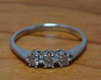 DEADsy LAST GASP SALE Lovely Vintage Engagement Ring // Three Stone Diamond Engagement Ring // 14K White Gold