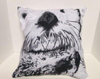 throw pillow, Sea Otter artwork, color options, color choices, pink otter, animal artwork, Otter pillow, Jennifer Stedman art,