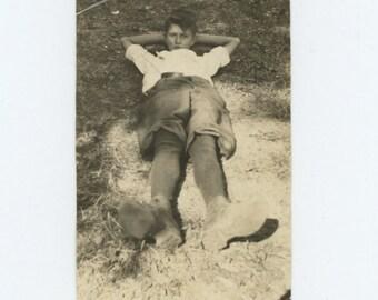 Vintage Snapshot Photo: Boy Reclining, c1920s (611521)