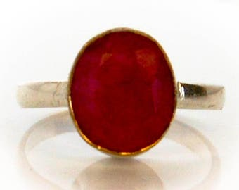 Vintage Sterling Red Carnelian Ring   Size 8
