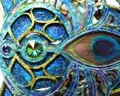 Laser cut, Peacock Phoenix, iridescent,  Statement necklace,  Wearable art,  Paua shell, Peacock feather, Swarovski crystal, resin.