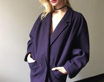 Vintage 80s Oversized Purple Wool Coat