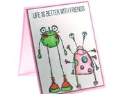 Monster friends card, friendship blank card, BFF, Pink, fun friendly alien creatures, cards for kids