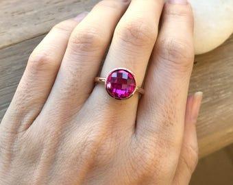 Rose Gold Pink Ring- Round Pink Quartz Ring- Pink Gemstone Ring- Classic Pink Topaz Ring- Simple Pink Stone Ring- Pink Solitaire Ring