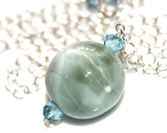 Huge Larimar Necklace Beach Necklace Caribbean Larimar Jewelry Ocean Necklace Beach Jewelry Orb Necklace Everyday Jewelry Volcano Gemstone