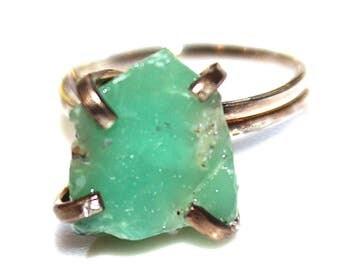 Raw Chrysoprase Ring Raw Stone RIng Mixed Metal Ring Rustic Ring Green Ring Holiday Gift Chrysoprase Jewelry Rustic Ring Stacking Ring
