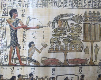Egyptian Funerary Painted Original Art Rice Paper. Egyptian Isis w/ Golden Offerings. Funeral Art, Hieroglyphics, Black & Gold Ancient Style